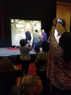 Goldberg's portrait is unveiled.