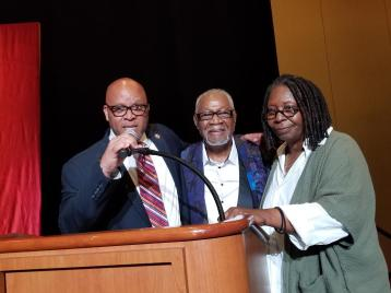 Atlantic City Mayor Frank Gilliam, Museum founder Ralph Hunter and Whoopi Goldberg.